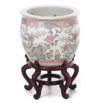 Chinese Ceramic Goldfish Bowl Planter and Stand, Late 20th Century