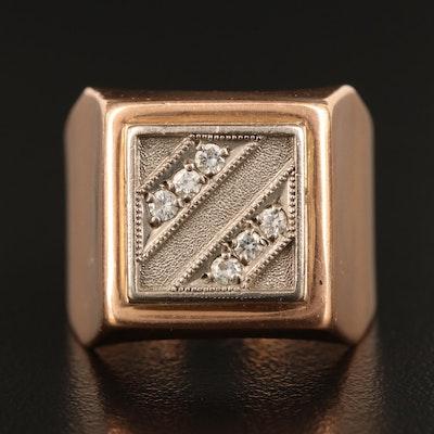 Soviet Russian 14K Two Tone Diamond Ring