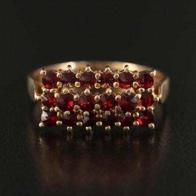 Vintage French 900 Silver Bohemian Garnet Bar Ring