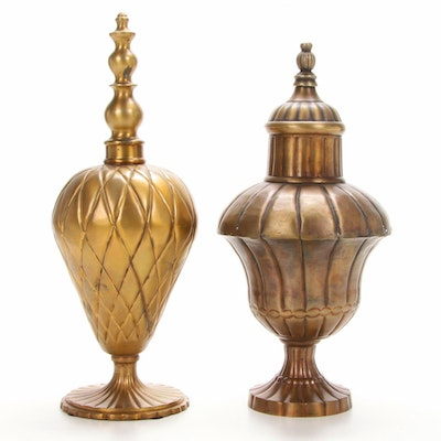Decorative Bronze Finish Metal Urns, Late 20th Century