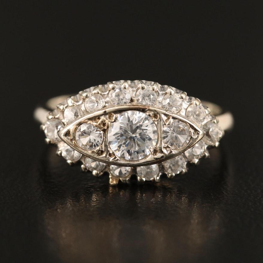 Vintage 14K Cubic Zirconia, White Sapphire and White Zircon Ring