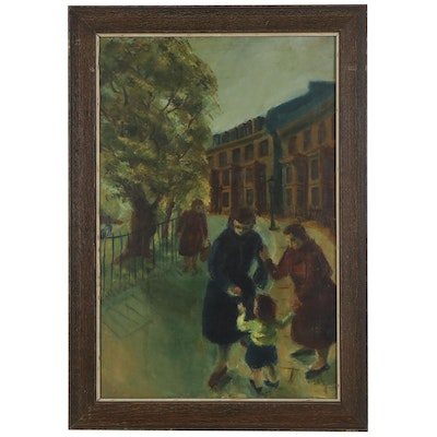 Street Scene Oil Painting, Early 20th Century