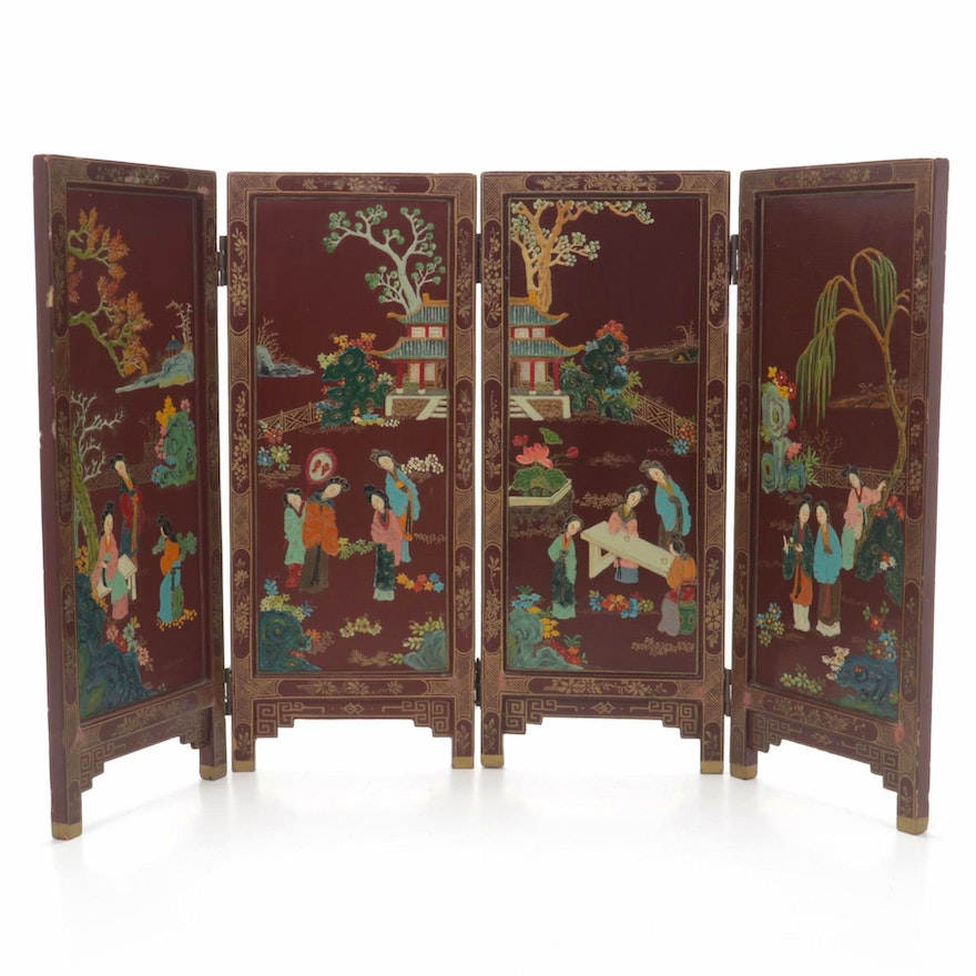 Chinese Hand-Painted Tabletop Screen
