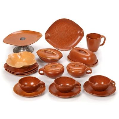 """Roseville Pottery """"Raymor Terra Cotta"""" Dinnerware, Mid-20th Century"""