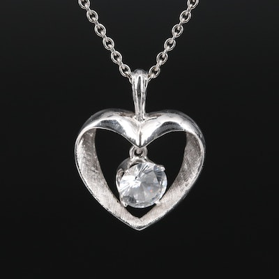 14K White Sapphire Open Heart Pendant with 10K Cable Chain