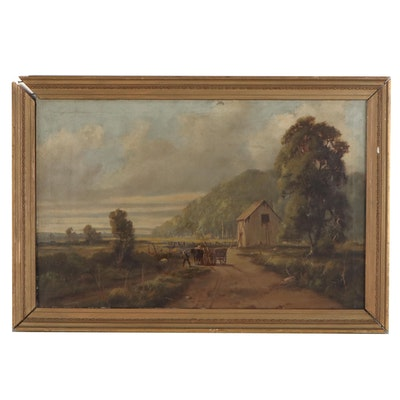 Rural Landscape Oil Painting, Late 19th Century