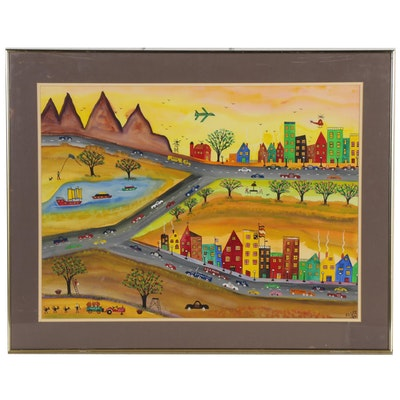 "James C. Litz Folk Art Watercolor Painting ""The Old Town Neighborhood,"" 1986"