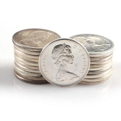 Twenty Canadian Silver Dollars, 1960-1967