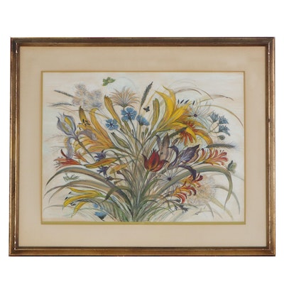 Pastel Drawing of Colorful Bouquet of Flowers, Mid-20th Century