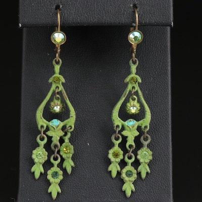 Vintage Rhinestone Dangle Earrings