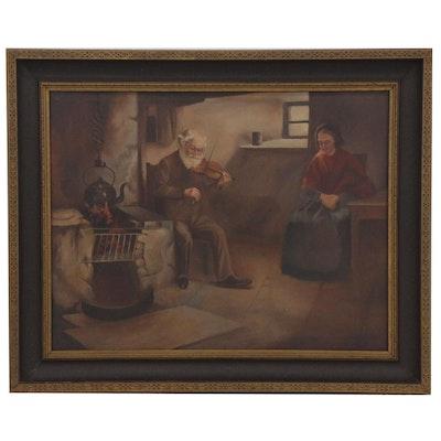 M. Irmscher Oil Painting of Genre Scene, 1927