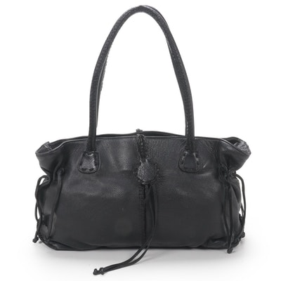 Carlos Falchi Overcast Stitch Black Leather Shoulder Bag