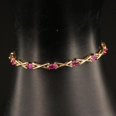 """14K Ruby """"X"""" Link Bracelet"""