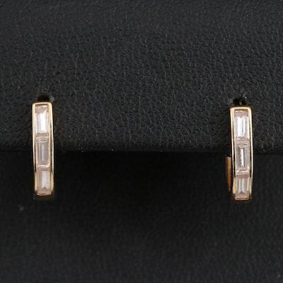 14K Cubic Zirconia Huggie Earrings