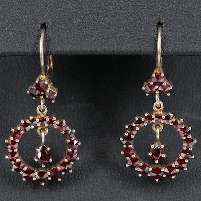 Czechoslovakian 800 Silver Garnet Circle Dangle Earrings