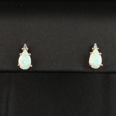 14K Opal and Diamond Stud Earrings
