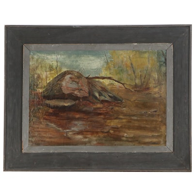 "William J. Ward Oil Painting ""Rock,"" 19th Century"