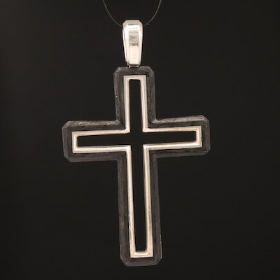 David Yurman Sterling and Forged Carbon Cross Pendant