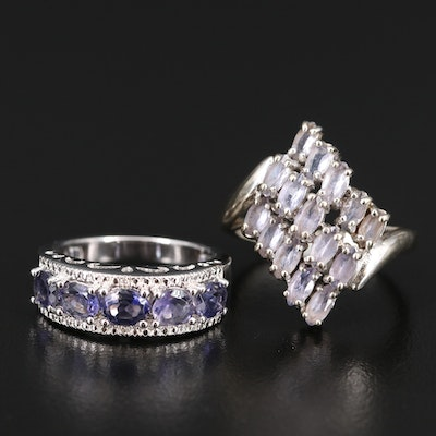 10K Iolite, Tanzanite and Diamond Rings