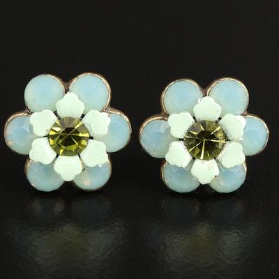 Rhinestone and Enamel Flower Stud Earrings