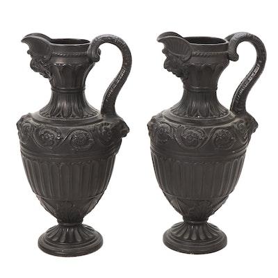 Pair of Neoclassical Batwing Ewers