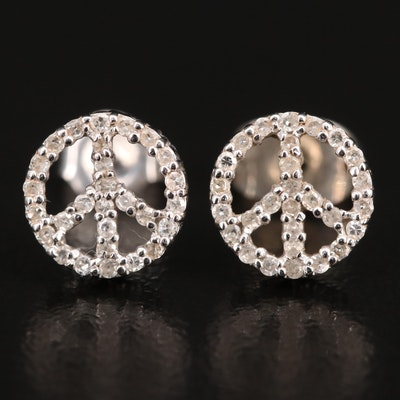 14K Diamond Peace Sign Stud Earrings
