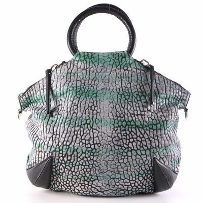 Devi Kroell O-Ring Bag in Rhino Embossed Leather with Padded Horn Style Accents