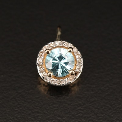 14K Zircon and Diamond Halo Pendant