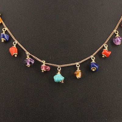 14K Fringe Necklace Including Turquoise, Tourmaline, Coral and Lapis Lazuli