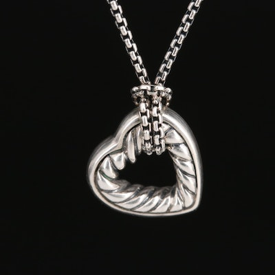 David Yurman Sterling Cable Heart Necklace with 18K Accent Tag