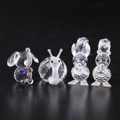 Swarovski Crystal Squirrel and Mouse Figurines with Other Crystal Figurines