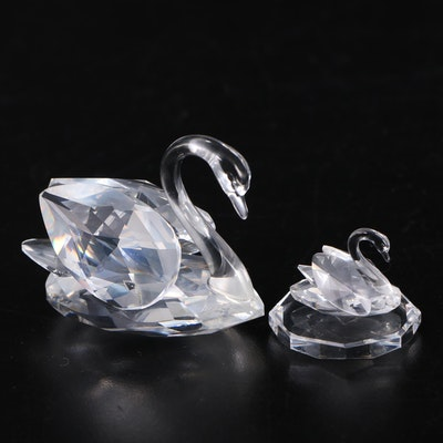 Swarovski Crystal Swans and Platform
