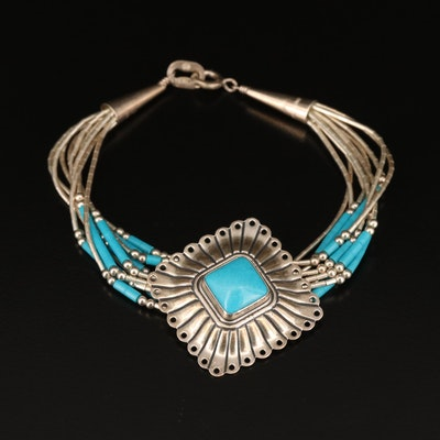 Carlisle Jewelry Sterling Silver Turquoise Multi Stand Bracelet