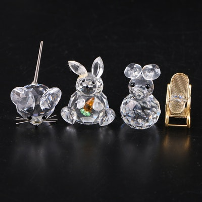 Swarovski and Other Crystal Mouse and Rabbit Figurines