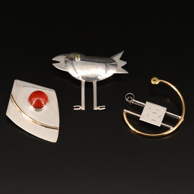 Abstract and Modernist Brooches with Carnelian, Peridot and Sterling Accent