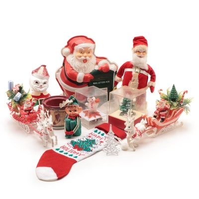 Battery Operated Moving Santa Claus, Glass Christmas Tree, Table Décor and More