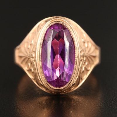 Vintage Soviet Russian 14K Sapphire Ring