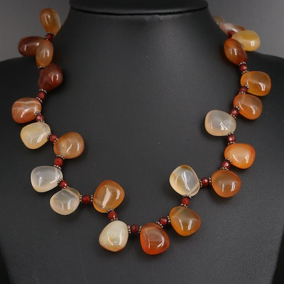 Sterling Silver Agate and Carnelian Bead Necklace