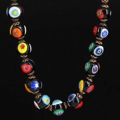Millefiori Glass Beaded Necklace