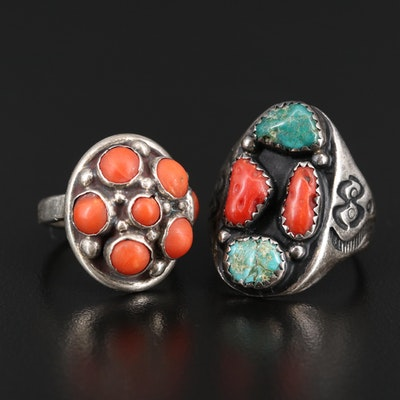 Western Sterling Silver Coral and Turquoise Rings