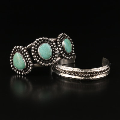 Southwestern Sterling Silver Cuffs with Turquoise