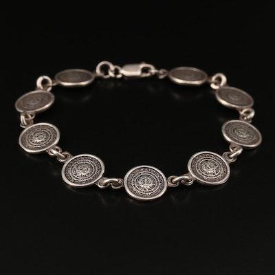 Sterling Silver Mesoamerican Calendar Bracelet
