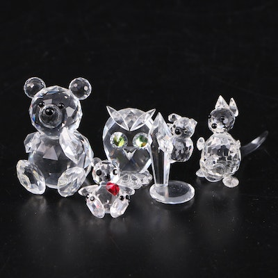 Swarovski Crystal Owl and Bear with Other Crystal Figurines