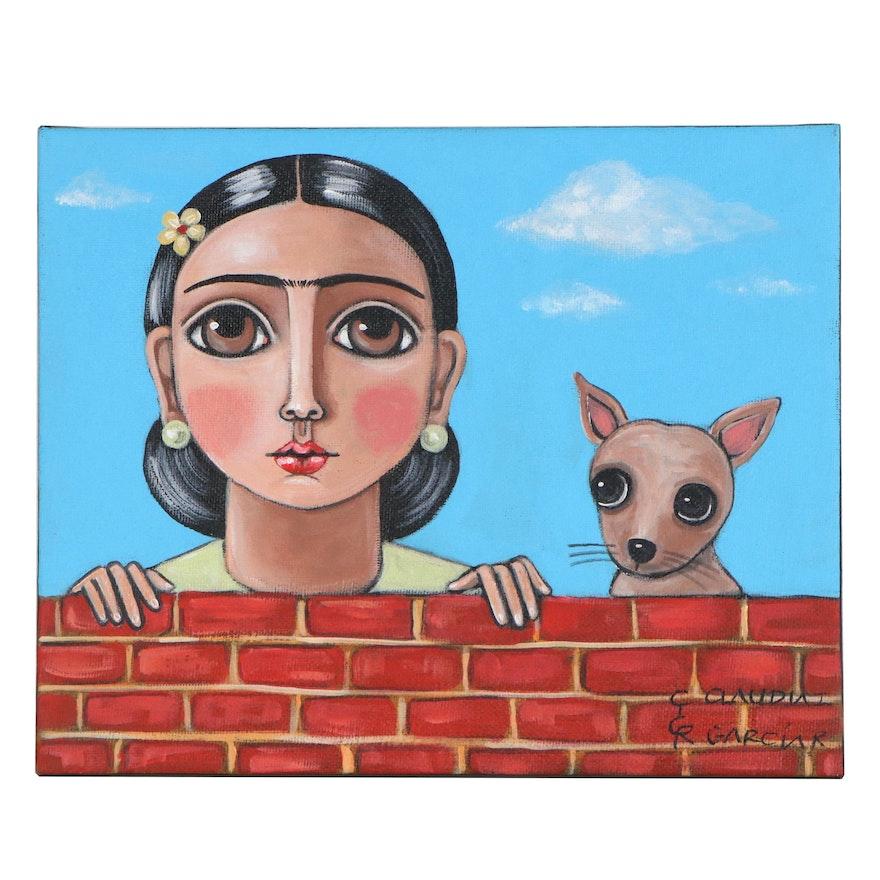 Claudia Garcia Folk Art Acrylic Painting of Woman and Chihuahua