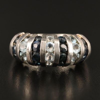 Sterling Silver Sapphire and Topaz Shrimp Ring