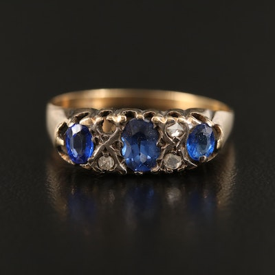 Victorian 14K Sapphire and Gemstone Ring with Sterling Accents