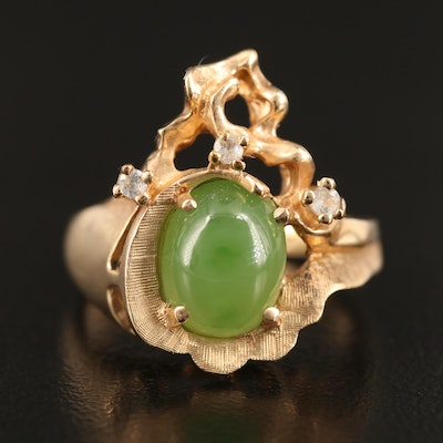 Vintage 10K Nephrite and White Spinel Ring