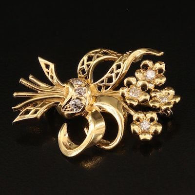 18K Diamond Floral Bouquet Brooch