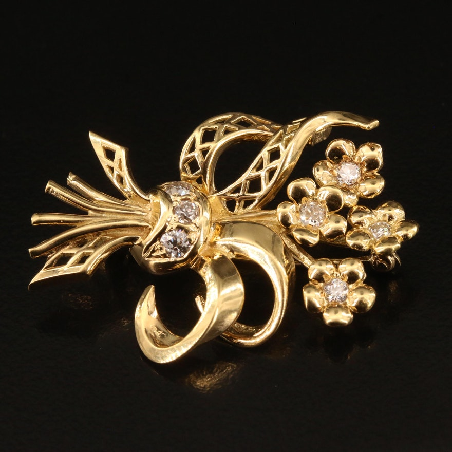 18K Diamond Floral Bouquet Brooch