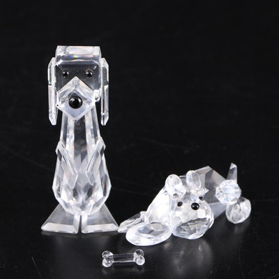 Crystal Dog Figurines Featuring Swarovski, Mid to Late 20th Century